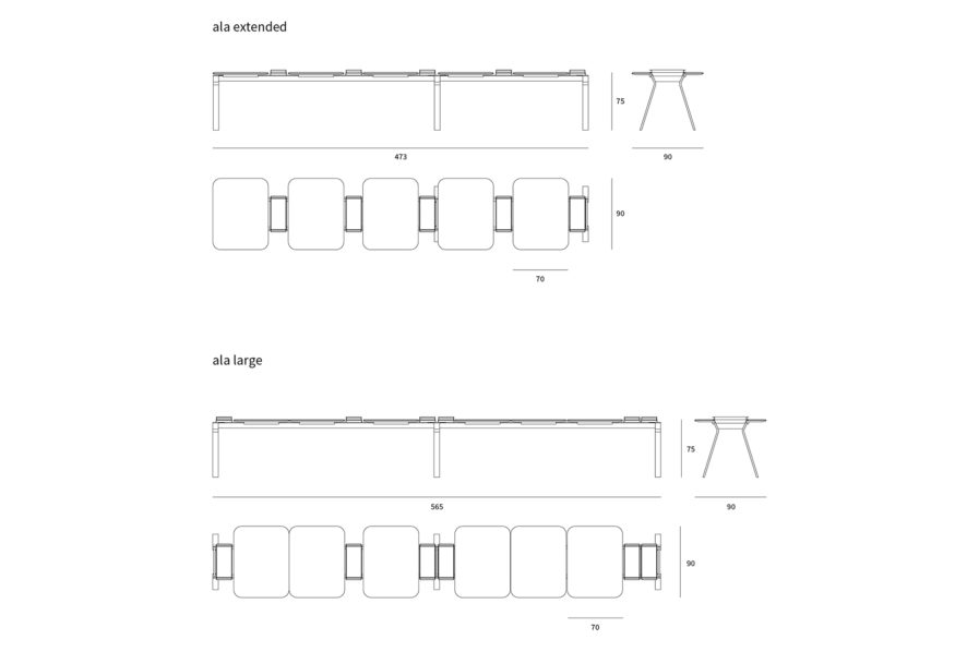 ALA MODULAR TABLE DRAWINGS