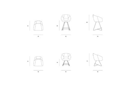 RUVO CHAIR AND HIGH CHAIR DRAWINGS